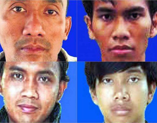 (Clockwise from top left) Untung Sugema Mardjuk. Mukhlis Khoirur Rofiq, Risno and Muhammad Mufid Murtadho.PHOTOS: A.JABAR
