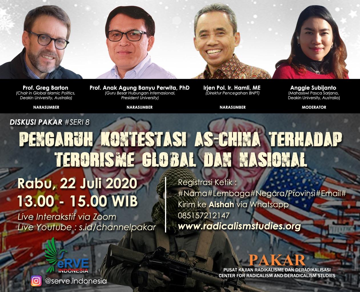 8th Webinar: Pengaruh Kontestasi AS-China terhadap Terorisme Global dan Nasional